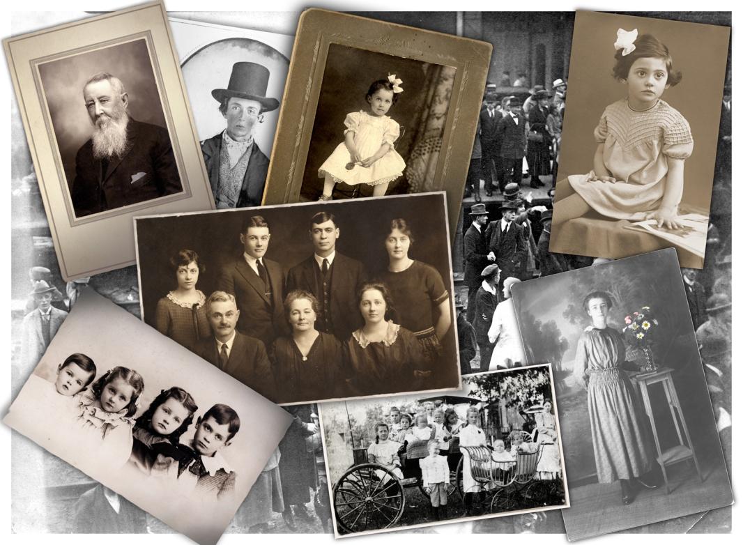 Alten Zeiten, Collage mit Familienfotos aus den letzten 100 Jahr